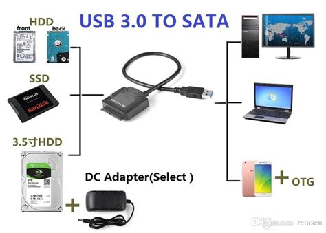 Connect Ide To Usb Cable Wiring Diagram by Universally Usb 3 0 To 2 5 3 5 Ssd Hdd Sata 3 Data Cable