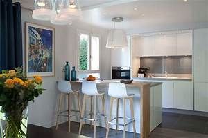 Cuisine Semi Ouverte Avec Bar : cuisines semi ouvertes sur le salon ou la salle manger ~ Melissatoandfro.com Idées de Décoration