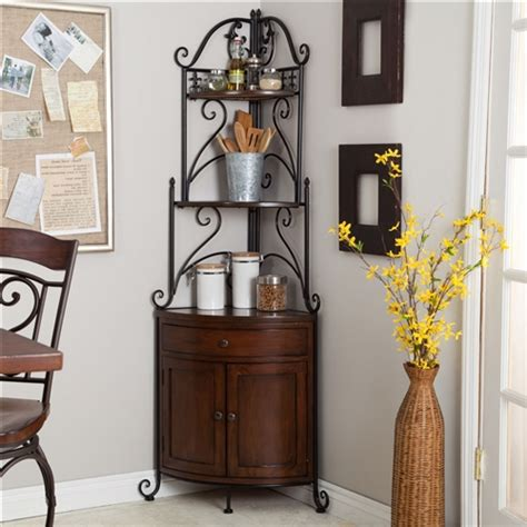 corner bakers rack with cabinet corner bakers rack with wrought iron frame and wood