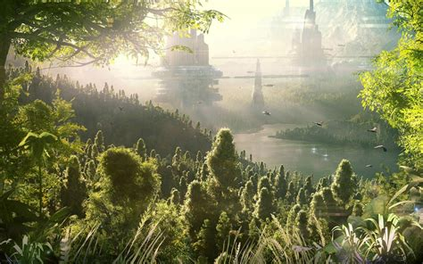 fantasy sci fi landscapes cg digital art jungle