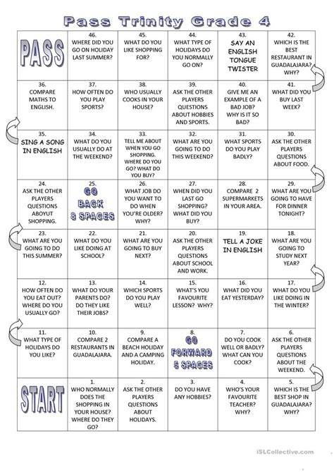 trinity gese grade  board game worksheet  esl