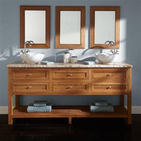 single sink vanity to double sink 72 quot thayer bamboo double vessel sink vanity bathroom