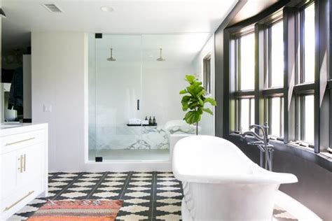 White Spa Bathroom by Black And White Spa Bathroom With Geometric Floor Hgtv