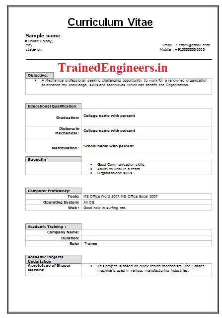 cv format for mechanical engineer fresher mechanical freshers resume