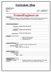 resume format mechanical engineering fresher resume With how to prepare resume for freshers in engineering