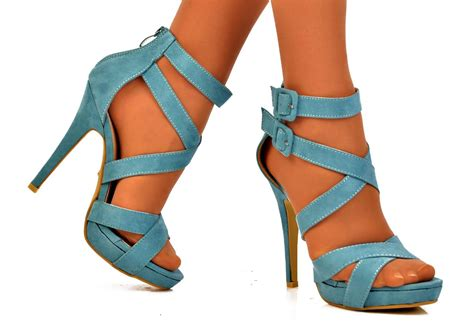 light blue strappy heels new ladies size uk 5 light blue strappy buckle high heel