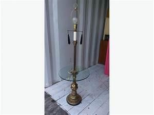 antique metal brass looking floor lamp with glass shelf With brass floor lamp with glass shelf