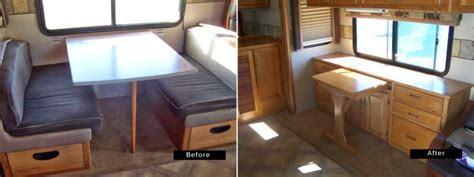 out a rv dining table for a more functional credenza