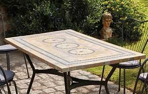 Chaise Table Jardin : table de jardin mosaique en pierre 4 ou 6 chaises ~ Teatrodelosmanantiales.com Idées de Décoration