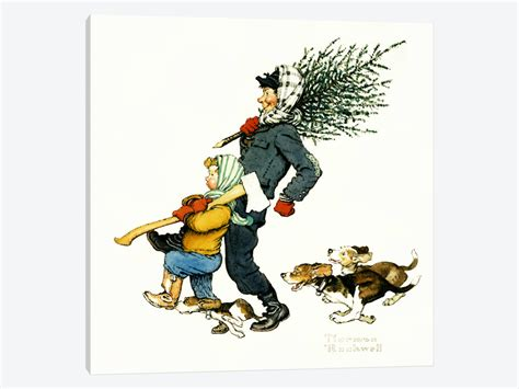 bringing home the tree canvas print by norman rockwell
