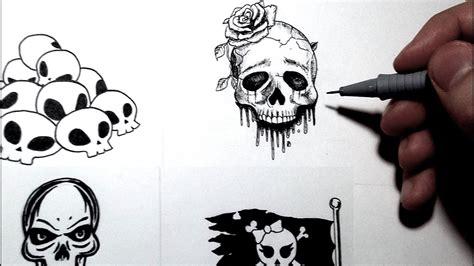 comment dessiner une t 234 te de mort 4 styles tutoriel inktober
