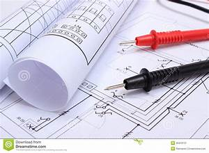 Rolled Electrical Diagrams And Cables Of Multimeter On