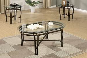 3pc larkin glass top coffee end table set for Glass coffee table and end tables set