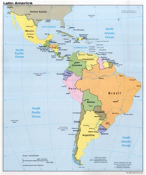 large detailed political map  latin america
