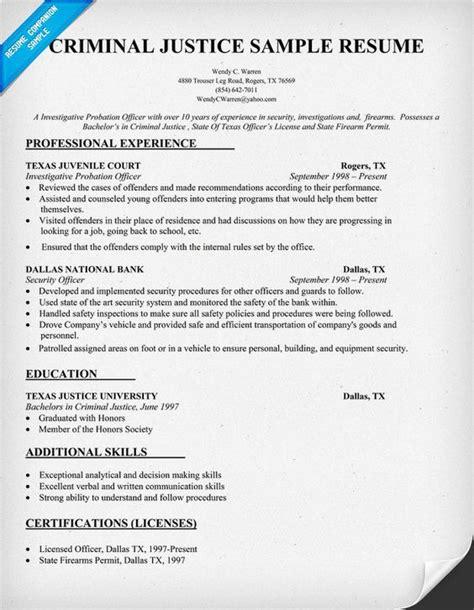 Jobing Resume Search by Criminal Justice Resume Sle Resumecompanion