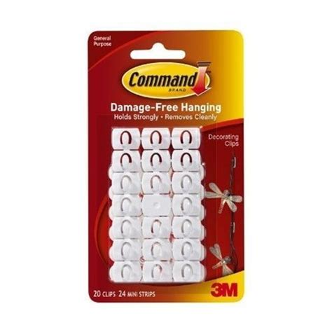 3m command christmas xmas fairy light hooks white self