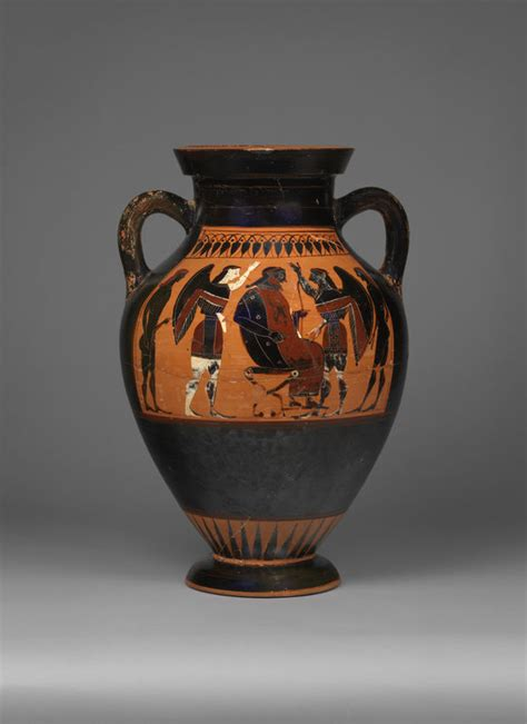 black figure panel amphora theseus   minotaur