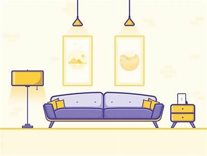 Living Illustration Dribbble Vector Interior Graphic Illustrations