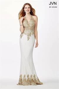 Fitted backless prom dress with halter neckline