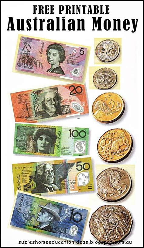 free printable australian money notes coins would be