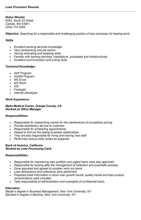 loan processor job description resume loan processor