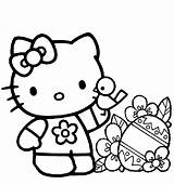 Hello Coloring Printable Getcolorings Kitty sketch template