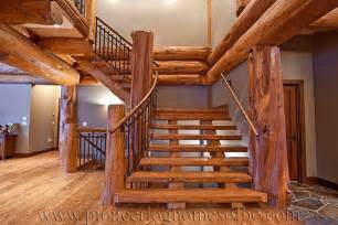 How To Build Stairs On A Deck by Entrances Hallways Amp Stairs Pioneer Log Homes Of Bc
