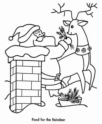 Santa Coloring Pages Claus Reindeer Chimney Printable