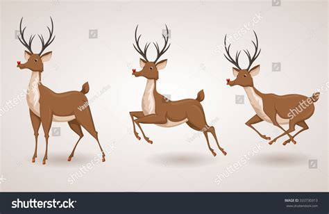 reindeer christmas icon set moving deer collection