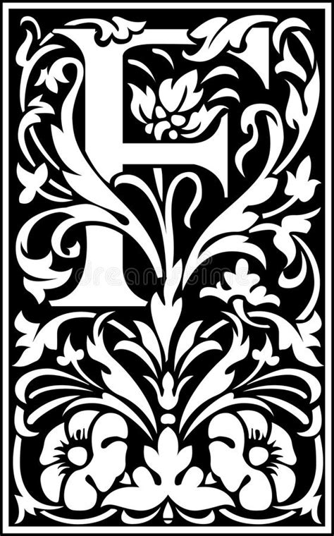 decorative letter b flowers decorative letter f balck and white royalty free 15692