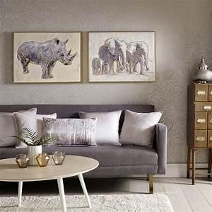 "Graham & Brown 24 in. x 31 in. ""Metallic Elephant Family ..."