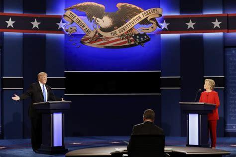 debate presidential stage trump hillary clinton donald during polls night republican york word politicker democratic ap politics nominee