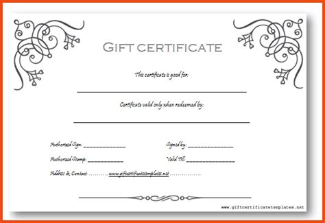 microsoft gift certificate template  word