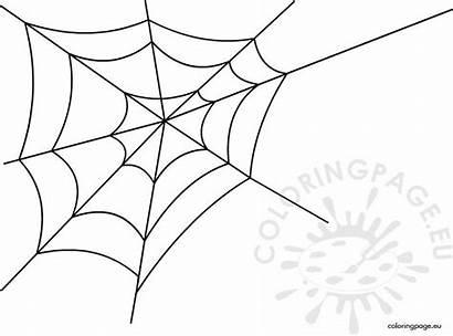Spider Web Coloring Halloween Coloringpage Eu