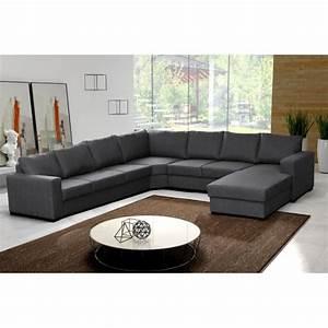 Canape D Angle 8 10 Places : canap d 39 angle 8 places oara gris moderne achat vente canap sofa divan tissu ~ Teatrodelosmanantiales.com Idées de Décoration