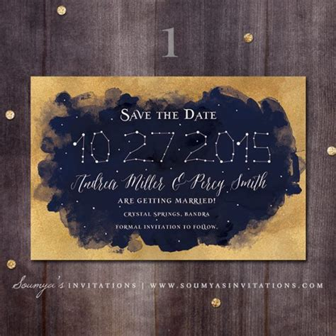 constellation wedding invitation gold  navy wedding