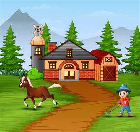 Desenhos animados agricultor e animais de fazenda no