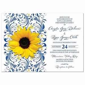 royal blue sunflower wedding invitation royal blue and With royal blue and sunflower wedding invitations