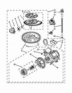 Pump  Washarm And Motor Parts Diagram  U0026 Parts List For Model Kuds30fxbl9 Kitchenaid