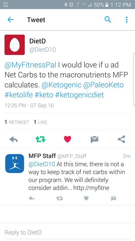 petition myfitnesspal  add net carbs keto