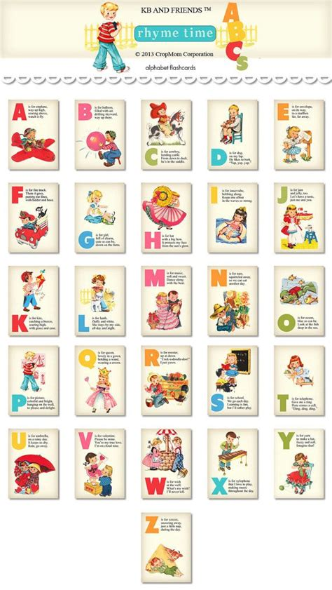 Digital Rhyming Retro Abc Flashcards  Alphabet Flash Cards Download…
