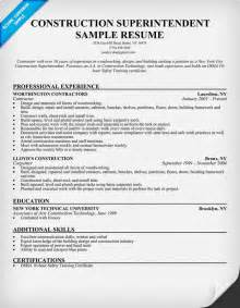 resumes for construction foreman exle resume sle resume construction superintendent