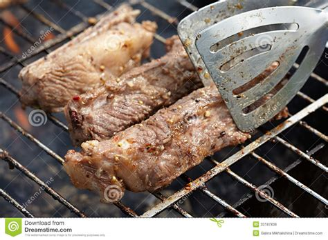 cooking ribs on grill ribs royalty free stock image image 33187836