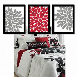 Red gray wall art bedroom pictures canvas or prints bathroom