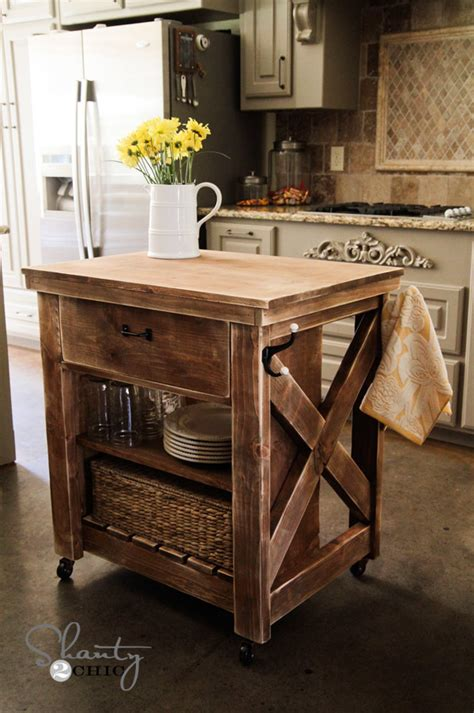 ana white rustic  small rolling kitchen island diy