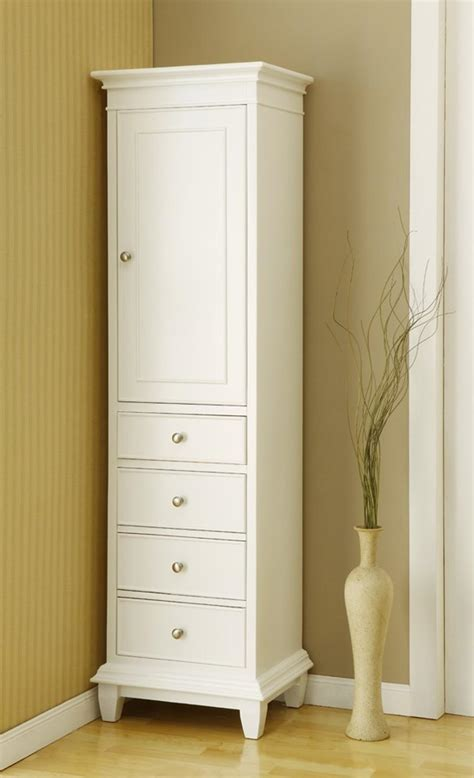 corner linen cabinet for space saving bathroom idea