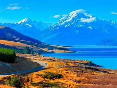 Zealand Desktop Pukaki Lake Pc Backgrounds Wallpapers