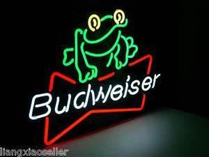 17X14 BUDWEISER FROG AMERICAN LAGER BEER NEON LIGHT BEER