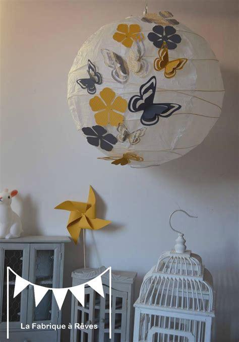 luminaire suspension abat jour papillons fleurs gris jaune d 233 coration chambre enfant fille