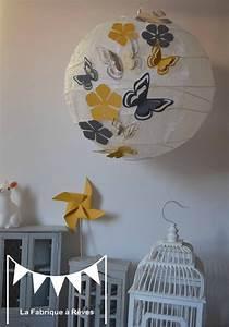 Abat Jour Chambre : luminaire suspension abat jour papillons fleurs gris jaune d coration chambre enfant fille ~ Teatrodelosmanantiales.com Idées de Décoration